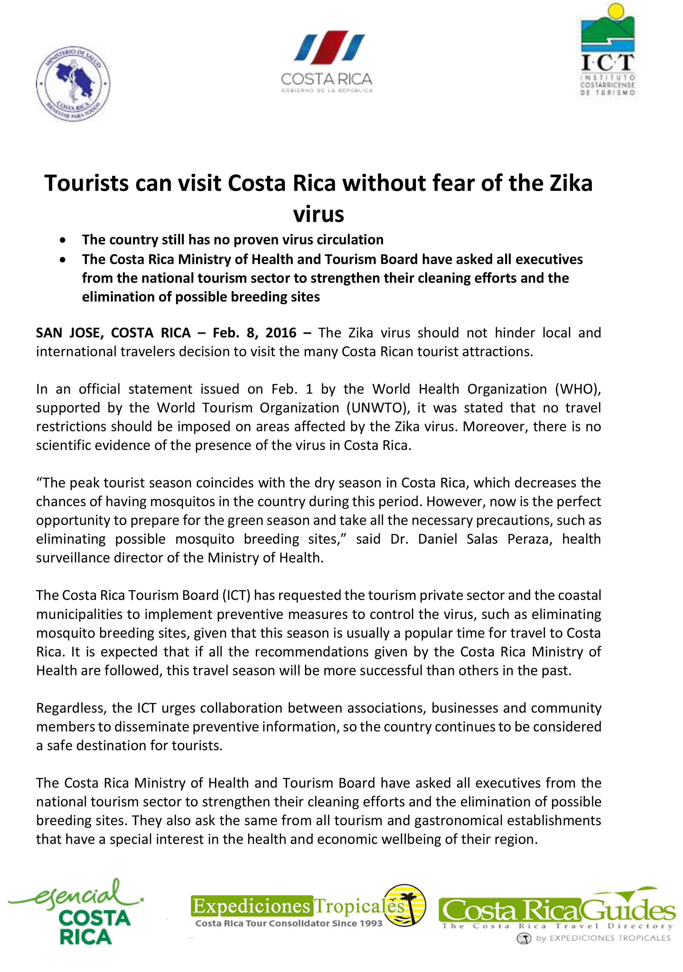 Tourists can visit Costa Rica without fear of the Zica Virus